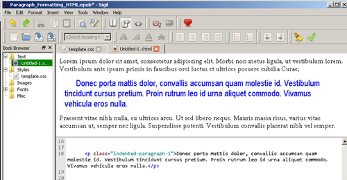 ePub Paragraph Formatting By Applying a CSS Style Directly into the ePub's XHTML Code