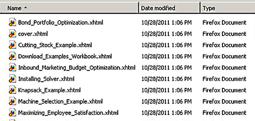 The Text folder's XHTML files. Each XHTML file is a separate section of the ePub eBook.