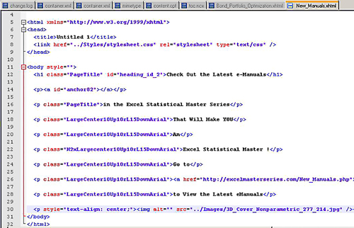 The XHTML code of one of the sections of an ePub file, just like a web page.