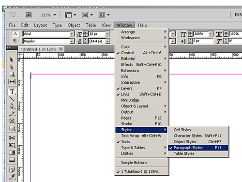 ePub in InDesign - Bringing Up The Paragraph Style Dialogue Box