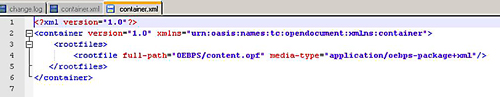 The container.xml file provides the location of the content.opf file.