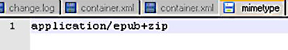 The mimetype file has just one line which states that the file is an epub file.