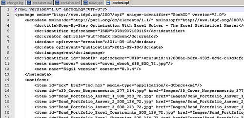 The content.opf file's metadata section and the manifest section.