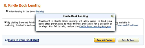 Check the Kindle Book Lending Program Option When Uploading an eBook To Amazon Kindle