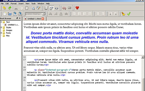 ePub HTML Code Before Page Split Is Added - Viewed in ePub Editor Sigil