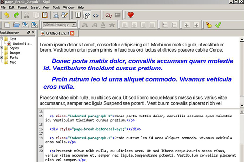 ePub HTML Code Correctly Inserted For a Page Break With Formatting Continued To 2nd Page - Viewed in ePub Editor Sigil