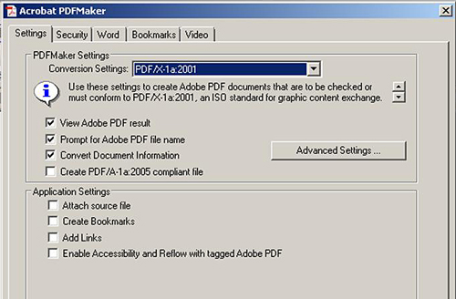 Adobe PDF Maker - Correct Settings