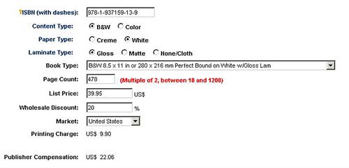 Lightning Source POD Publisher Compensation Calculator - Black-and-White