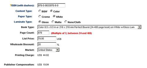 Lightning Source POD Publisher Compensation Calculator - Color Book