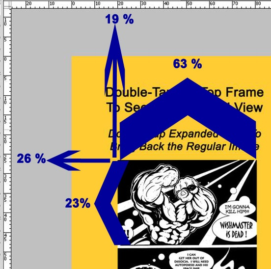 KF8 Panel Magnification Tap Target Positioning Determined Using Photoshop With Rulers Configured To Show Percent